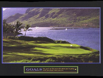 "Cuadro Goals (Golf) - ""El texto del cuadro dice: """"You cant set the course for where youre going until you know where you see."""" """