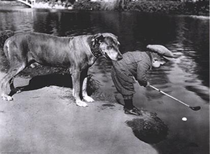 """Cuadro Niño y Golf - """"Tema: """" El perro caddy sujeta al niño"""""""