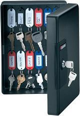 Armario de llaves - Armario de llaves color negro apto para 25 y 50 llaves según referencia. » Cerradura con llave (2 juegos de llaves incluidos), incluye 25 y 50 llaveros, respectivamente, para llaves de diferentes colores y etiquetas de identificación. » Cerradura co
