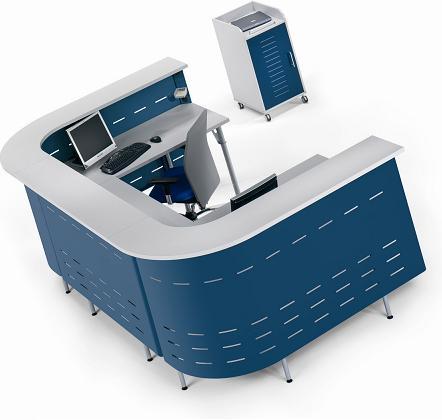 """Mostrador / Recepción - Aquí le presentamos un mostrador o recepción en forma de """" U """" la parte superior en melamina gris y la inferior en metal color azul ( también se sirven en color burdeos ,metalizado, aluminio y gris oscuro) pulse sobre la foto para mas información."""