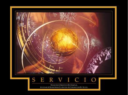 """Cuadro Servicio Mundo - """"El texto del cuadro dice: """"""""Nuestro objetivo es simple, ayudar a nuestros clientes a conseguir el suyo.""""""""       """""""