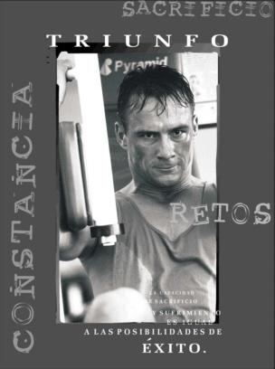 """Cuadro Triunfo (Deporte) - El texto del cuadro dice: """"La capacidad de sacrificio y sufrimiento es igual a las posibilidades de éxito."""""""