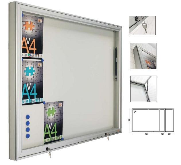 Vitrina para exterior - Vitrina de anuncios mural exterior con marco de aluminio en color plata mate, puerta abatible y cerraduras con llave. Fonfo con base magnética blanca. Son estancas a la lluvia permitiendo su colocación a la interperie...............