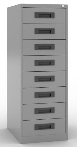 Archivador 8 cajones para fichas - 8 cajones para fichas de 12,5  de altas x 18,5 de anchas (dos filas por cajón) medida exterior: 47 cm de ancho x 65 fondo x 132 alto sistema antivuelco (opcional + 20 euros) cerradura centralizada.