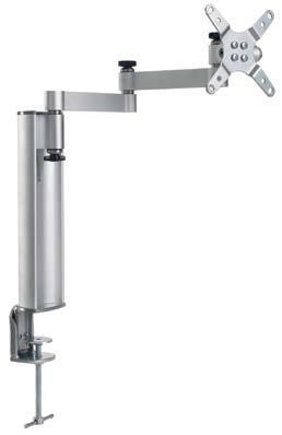 """Soporte de aluminio-sobremesa - Soporte de aluminio de sobremesa con movimiento de inclinación, giro, panorama y extensión. Permite adaptar pantallas de 13""""-30"""". Viene montado."""