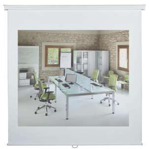Pantalla de proyección pared - Pantalla de proyección enrollable mural, adaptable a techo o pared. Fabricada en tela anti-reflejante. La carcasa esta fabricada en aluminio. Enrollado automàtico Viene montada.