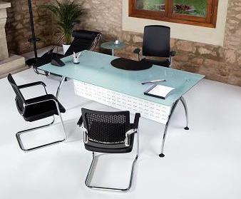 Mesa recta patas cromadas y cristal muebles de oficina for Mesas y sillas para oficina