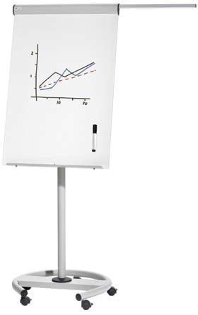 Pizarra móvil - Pizarra móvil metálica regulable en altura mediante muelles. Incorpora bloc de papel de 20 hojas y 2 brazos telescópicos. Fácil montaje.