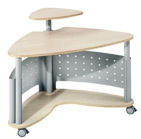 Mesa de ordenador móvil - Mesa de ordenador móvil y estructura metálica tipo corner de 3 niveles de superficie. Ideal par múltiples combinaciones tipo call center. Ruedas de diseño. Fácil montaje.