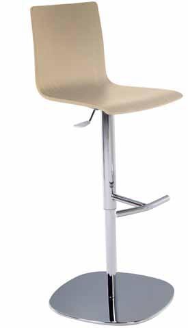 Taburete - Taburete para oficina y hogar con asiento monocasco realizado en madera. Mecanismo de elevación por gas con estructura cromada. Incluye reposapiés.