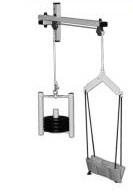 Aparato de tracción cervical - Aparato de tracción cervical a pared. Fabricado en acero esmaltado epoxi. Consta de mentonera, percha, dos poleas, y discos de pesas (3 de 1 Kg) y ( 1 de 0.5KG) Medidas: 54 ancho.