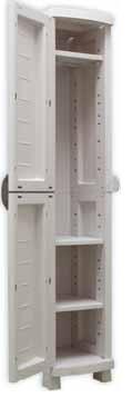Armario polipropileno - • Fabricado en resina de polipropileno. • Robusto y sencillo de montar. • Recomendado para exterior y zonas húmedas. • Cierre para candado (candado no incluido). • Color gris claro.