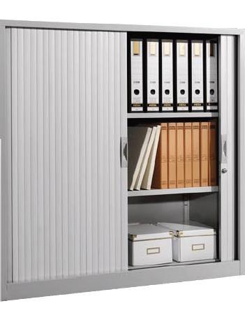 Armario metálico - Armario persiana mediano con 1 estante incluido. Medidas exteriores: 450 x 1200 x 1000 mm