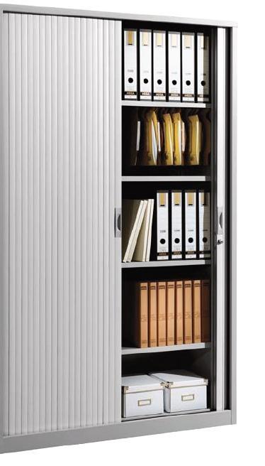 Armario metálico - Armario persiana grande con 4 estantes incluidos. Medidas exteriores: 450 x 1200 x 2000 mm