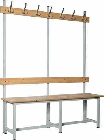 Banco madera con perchero - Banco con chasis de tubo de acero, listones de pino barnizado y estructura soldada. Con perchero.
