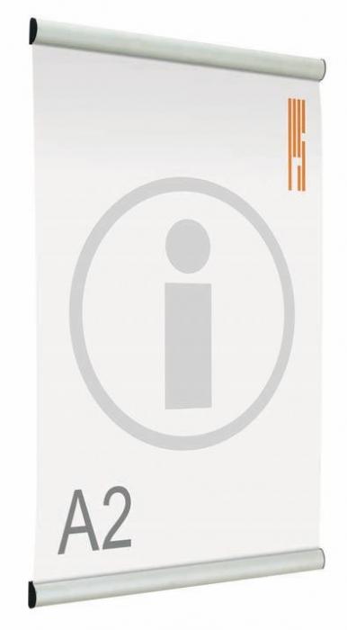 Portapósters o carteles publicitarios - Banner portapósters Suspendido doble cara de marco abatible de aluminio anodizado en plata mate, que permite la sustitución del impreso de una manera rápida y cómoda mediante el perfil en forma de pinza que sujeta el póster mediante sistema de clip.