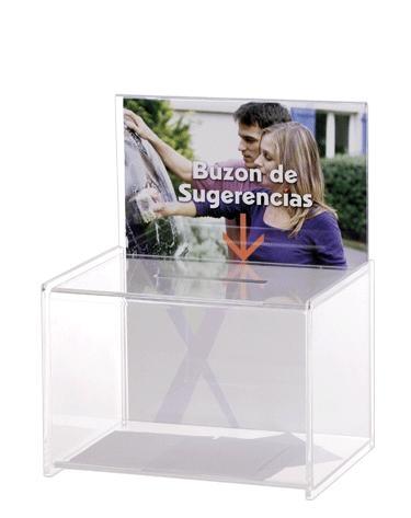 Buzón de sugerencias y/o urna - Urna o Buzón de sugerencias sin llave. Medidas:175 x 220 x 285 mm (fondo x ancho x alto) Características:Con espacio personalizable. Color transparente. Y un servicio rápido de entrega.