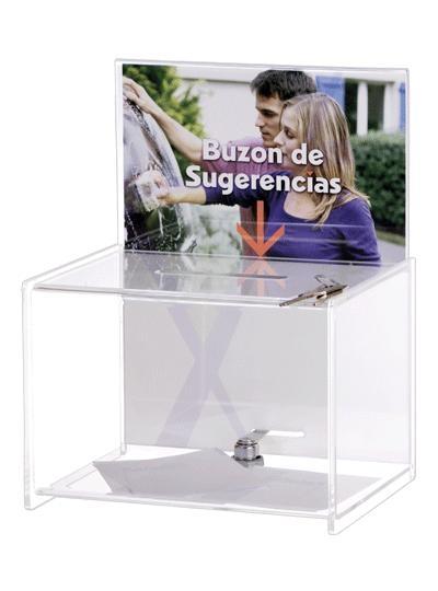 Buzón de sugerencias y/o urna - Buzón de sugerencias con llave. Medidas:175 x 220 x 285 mm (fondo x ancho x alto) Características:Con espacio personalizable. Color transparente.