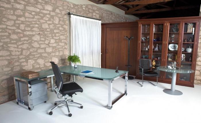 Mesa de cristal mas ala cristal y cromada muebles de for Muebles oficina cristal