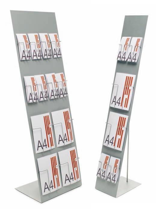 Expositor metálico para catálogos con cajetines. - Expositor metálico Con cajetines de varilla metálica formando la composición deseada en cada momento. Las cajetines están disponibles en Din A4, A5 y formato tríptico. La parte superior puede ser rotulada o vinilada bajo pedido.  Medidas: 150 x 24 ó 150 x 45  *Imagen de muestra, no incluye los cajetines de varilla metálica.