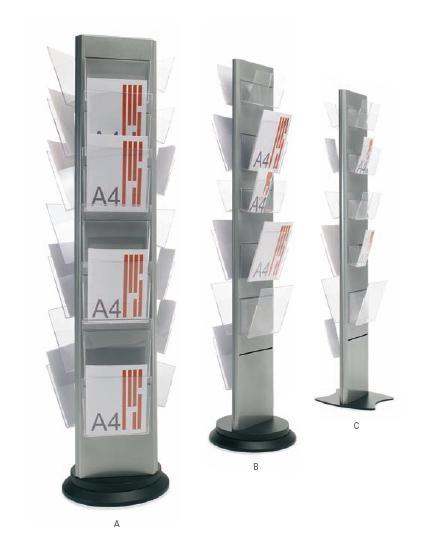 Expositor personalizable para revistas, catálogos y folletos de publicidad - Expositores personalizables. Gama de expositores metálicos de dos o tres caras sobre base negra fija o giratoria pintados de color gris metalizado. En las ranuras de la torre se acoplan los casilleros VIS/A4 (A4) y VIS/1/3/A4 (1/3 A4), pudiendo obtener la configuración de portafolletos deseada.