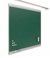 """Pizarra verde  - Pizarra verde """"Z"""" de acero vitrificado de diseño. Pizarra verde enmarcada con perfil de aluminio anodizado en color plata (tapa personalizable). Superficie magnética de acero vitrificado a 700º C con garantía de por vida. Incluye reposatizas y 2 ganchos portamapas. Colores: verde, azul, gris y negro.  Medidas:  80x100 100x120 120x200 120x200 120x250 120x300  Medidas con cuadriculas:  100x120 120x150 120x200 120x300  medidas con pentagrama:  120x150 120x200 120x300"""