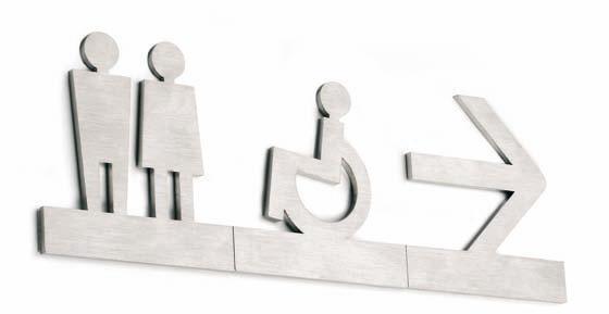 Pictogramas inoxidables adhesivos - Pictogramas de acero inoxidable adhesivos. Pictogramas, letras y números adhesivos fabricados en acero inoxidable de 0,25 cm. Gracias a su fácil colocación permiten señalizar cualquier entorno formando palabras y/o unir varios números o pictogramas. Aplicar sobre una superficie lisa.
