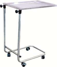 Mesa para instrumental - Mesa para instrumental. Fabricada en Acero Inox. Bandeja extraíble en Acero Inox. Elevación manual mediante maniquetas. Opcionalmente se puede poner soporte gotero.