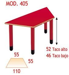 Mesa Infantil - Patas de polipropileno, disponibles en 4 colores y 2 alturas. Tapa en DM laminado con cantos redondeados barnizados con poliuretano.