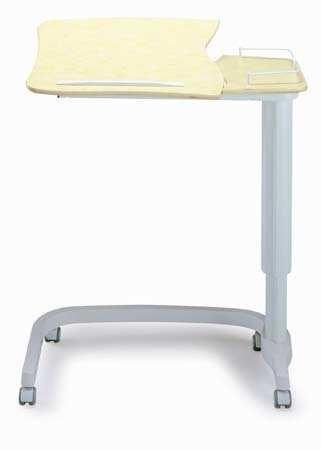 Mesilla de cama - Mesilla de cama Fabricada en Acero Esmaltado epoxi. Bandejas independiente, parte grande de la bandeja inclinable hasta en 5 posiciones mediante cremallera. Altura regulable mediante pistón de gas. Cuatro ruedas para un mejor desplazamiento