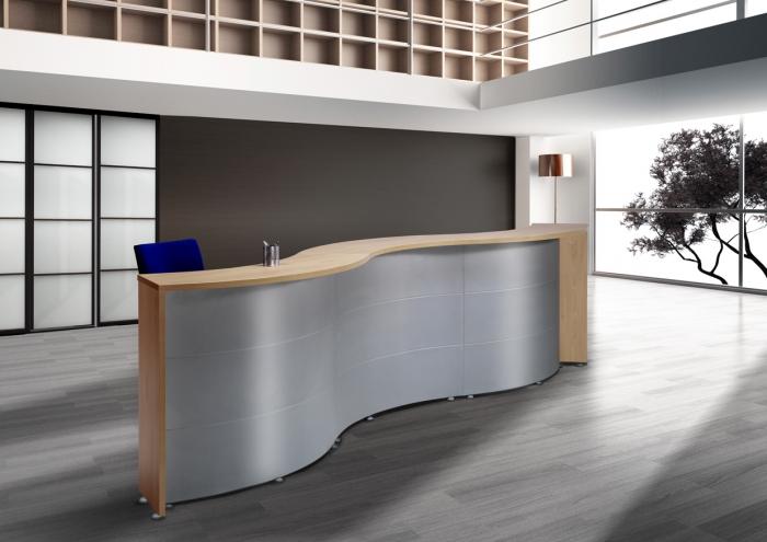 Mostrador curvo muebles de oficina sillas de oficina for Mobiliario para oficinas modernas