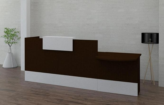 Mostrador / Recepción de diseño recta - - Mostrador para recepciones de oficina en módulos de 120,140,160,180 y 200 cm. - Configurable el color de los tableros (blanco roto, gris claro, haya, roble, peral, wenge y grafito. - El color de la estructura metálica que hace de recepción, pueden ser blanco roto, aluminio y grafito. - Módulo de 80 cm. bajo opcional para personas con movilidad reducida. - La base es de polietileno para evitar que la humedad deforme la madera.