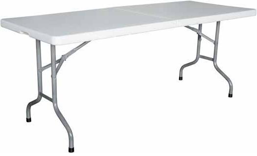 Mesa plegable - • Chasis de tubo de acero, pintado Epoxi. • Plegable. • Gran resistencia. • Mantenimiento nulo, se limpia con un trapo húmedo. • Tablero de resina de polipropileno.