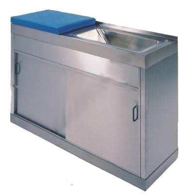 Mueble paritorio - Mueble paritorio Fabricado en Acero Inoxidables. Dos puertas inferiores correderas y estante interior. Parte superior con un seno de Acero Inoxidable. Colchoneta en parte superior color azul.