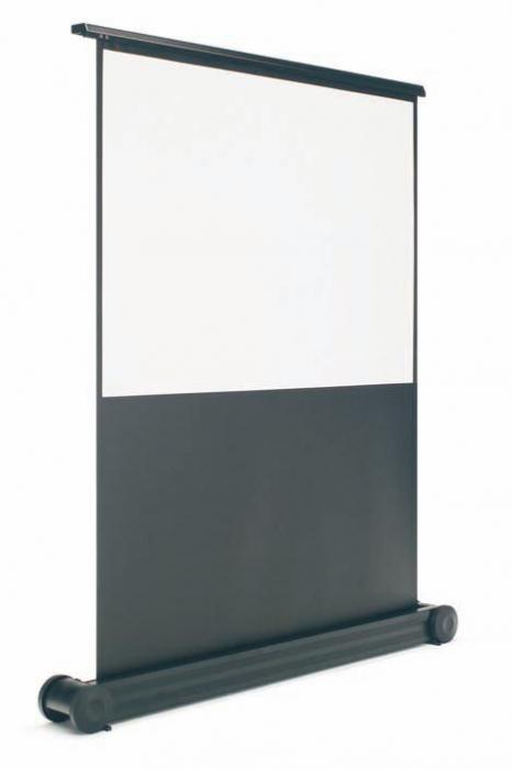 Pantalla de proyección con pie - Pantalla de proyección de pié Pantalla de proyección enrollable de tela mate antirreflectante, con sistema de sujección mediante tijera posterior. Conjunto dotado de ruedas para su fácil transporte.