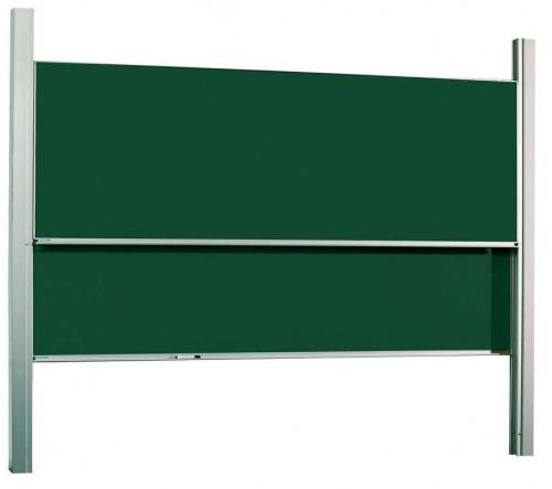 Pizarras de guillotina dobles - Pizarra de guillotina Conjunto de 2 pizarras verdes/blancas de Acero vitrificado sobre una estructura de aluminio anodizado en plata mate montadas sobre suelo y pared. Las pizarras son independientes entre sí, guiadas por rodamientos de nylon. Ideales para colegios, universidades, anfiteatros, salas de formación…