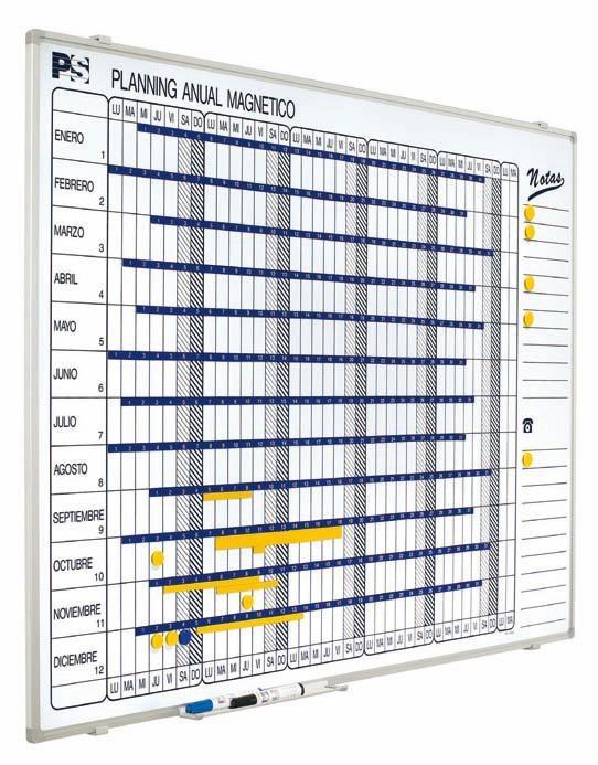 Planning anual magnético - Planning magnético Planning mural blanco serigrafiado, rotulable con rotuladores de borrado en seco, enmarcado con perfil de aluminio anodizado en color plata mate y cantoneras redondeadas grises. Incluye un cajetín reposarrotuladores de 30 cm.