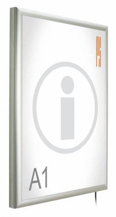"""Portapósters con caja de luz 860/A2 - Portapósters con caja de luz """"Classic"""" Portapósters con caja de luz, con marco abatible de aluminio anodizado en plata mate, para presentación de pósters con iluminación. Permite la sustitución del impreso de una manera rápida y cómoda."""