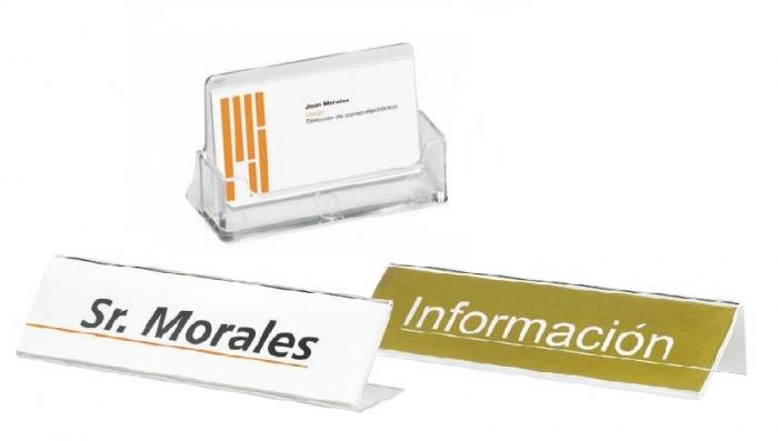 Portarrótulos y tarjetero ES/1 -  Portarrótulos y tarjetero Porta tarjetas y portarrótulos de metacrilato de alta resistencia. El portarrótulos puede situarse en 2 posiciones.