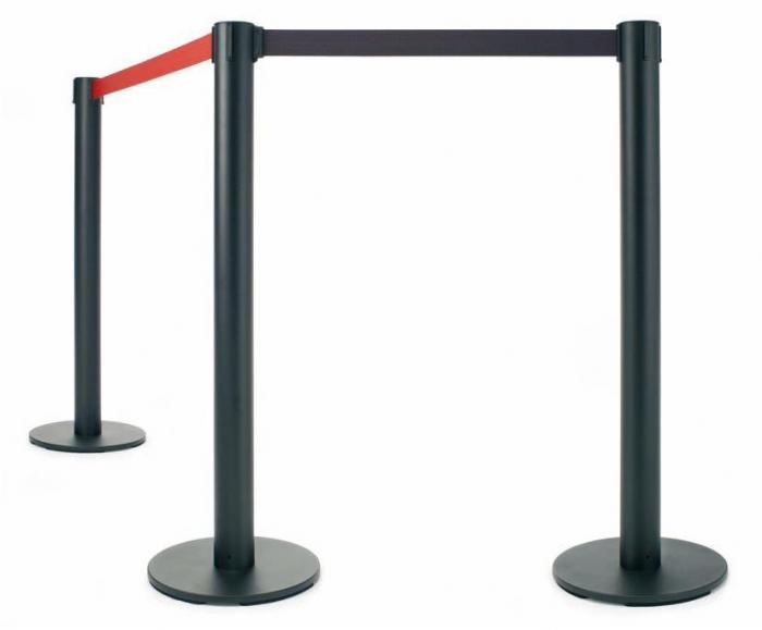"""Poste separador extensibles - 2 postes metálicos """"eco"""" cinta extensible Caja de 2 postes separadores metálicos de 95 cm de alto, para separaciones de áreas y guiado peatonal. Poste de color negro y cinta retráctil de 2 m. disponible en rojo y negro."""
