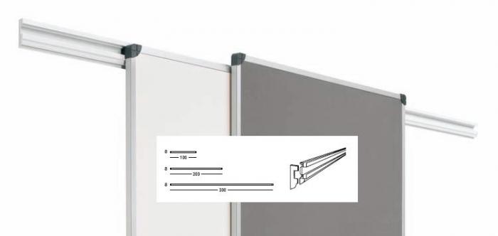 Railes para pizarras y/o tableros de anuncios - El sistema de railes permite mediante un perfil de aluminio lacado blanco, fijado a la pared, permite colgar en sus dos carriles, pizarras, tableros, etc… desplazarlos longitudinalmente y hacer posible cualquier tipo de presentación, etc…