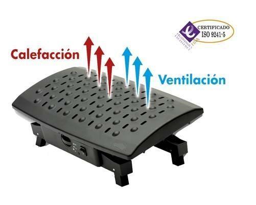 Reposapiés con calefacción - Apoyapiés eléctrico con sistema de aire caliente /aire ambiente regulable  para mantener una postura ergonómica a la vez que permite tener los pies  a la temperatura deseada. 3 niveles de regulación de temperatura: aire, nivel calor bajo (125 W),  nivel calor alto (250 W). Superficie de efecto masaje que favorece la circulación de las piernas.  Longitud de cable 1.25 m. Regulable en altura.  Medidas: 415 x 250 x 135 mm.