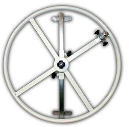 Rueda rehabilitación - Rueda de hombro para rehabilitación. Fabricado en Acero esmaltado epoxi. Aro de inercia metálico, regulable en altura, maneta giratoria regulable. Con regulación de esfuerzo.