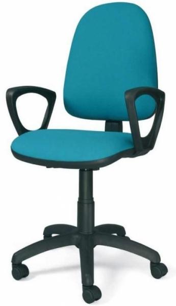 Silla de oficina respaldo alto - Silla operativa gama económica Mecanismo contacto permanente, elevación en altura de respaldo y de profundidad del asiento. Base en poliamida y brazos en poliuretano.