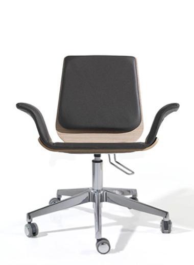Silla de oficina - Silla de oficina Base aluminio.  Ruedas de goma. Estructura de madera. Brazos opcionales.   Disponible madera Blanca o Negra /Madera Roble o Wengu�.    SOLICITAR + INFO.