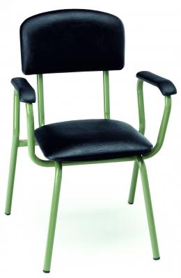 Silla escolar - Silla escolar Estructura en tubo de acero 25x1 cromada o pintada con Epoxy-poliéster negro o verde Ral 6011. Brazos de poliamida.  Asiento y respaldo tapizados en diversos tejidos.