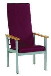 Sillón respaldo alto reclinable - Sillón geriátrico. Respaldo alto reclinable Estructura metálica pintada en gris. Diversos tapizados. Posibilidad de integrar reposapies.