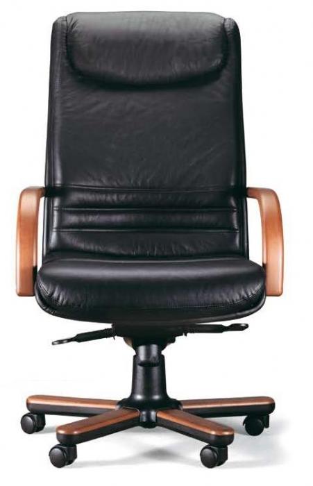 Sill n de piel brazos de madera muebles de oficina for Sillones para oficina precios