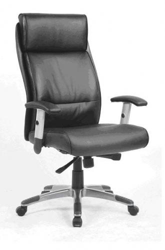 Sillón de dirección en piel con brazos regulables en altura - Sillón de Dirección - Silla de asiento y respaldo en piel color negro, base cromada con ruedas de 5 radios y elevación a gas. Dimensiones de la Silla: W580 x D630 x H1020-1120 mm