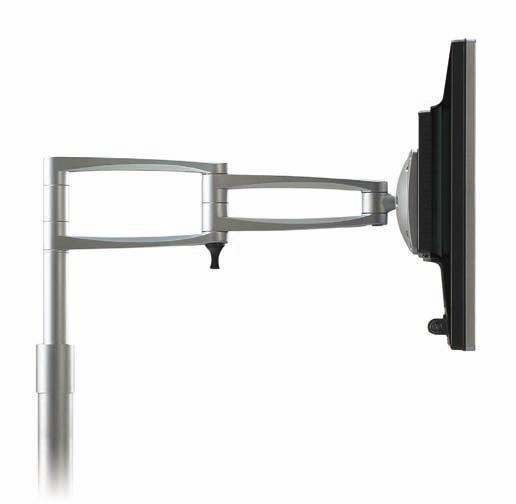 """Soporte pantallas de ordenador de sobremesa - Soporte pantalla de sobremesa """"ZM"""" Serie ergonómica de brazos y soportes de sobremesa metálicos para pantallas de LCD / plasma hasta 28 pulgadas y un máximo de 20 kg. Incluyen sistema de extensión VESA y clip pasacables. Acabado en color gris metalizado."""